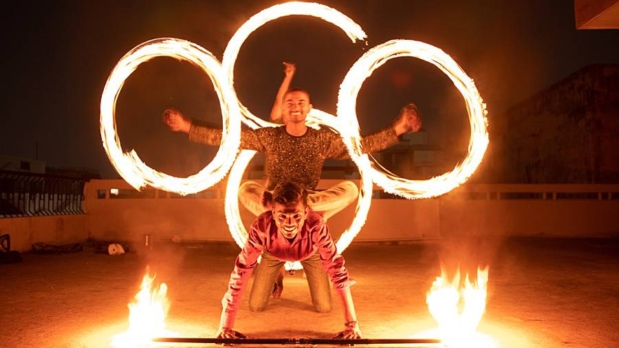 TRAILBLAZERS: Kashi Fire Warriors performing the fire Poi