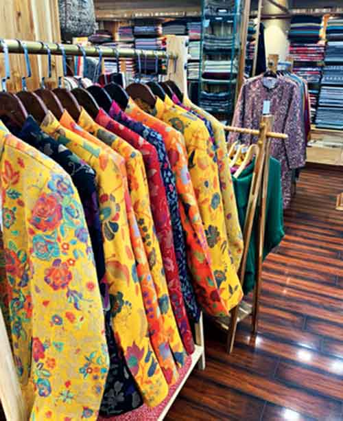 The woollens collection at Ram Lal & Bros is spectacular; it really is like walking into a desi Burberry's... beautifully-tailored tweed jackets, pashmina, mock jamawar and kani shawls