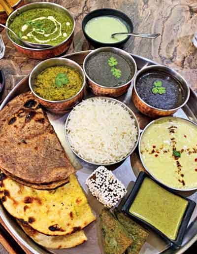 Anupam's serves a great Kumaoni thali comprising hemp seed chutney, kheera raita, bal mithai (the original comes from Almora), chudkani dal, madua (ragi) roti, a sort of vadi called badeel and bedu rotis (stuffed with seeds)