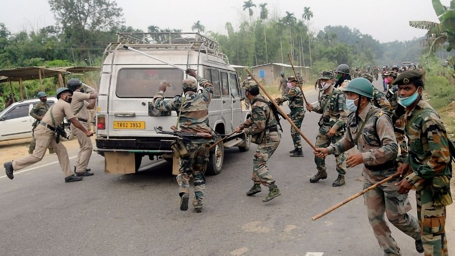 Police lathicharged and then opened fire at picketers blocking Assam-Agartala National Highway at Panisagar in North Tripura district on Saturday.
