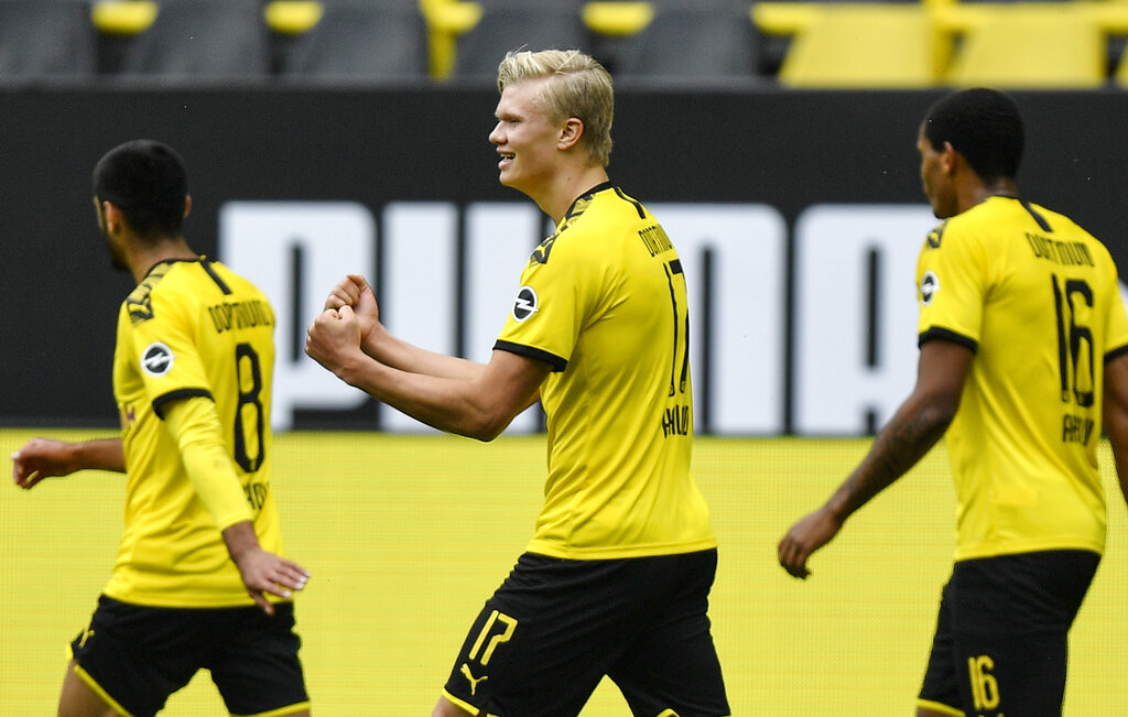 It was a memorable evening for Norwegian Haaland, who notched up his first away goals of the campaign and took his season tally to 10 goals in eight matches, one less than top scorer Robert Lewandowski of Bayern Munich.