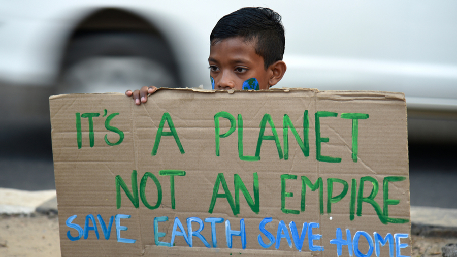 Students from various institutions take part in a protest in support of the global action against climate change, Guwahati, November 2019.