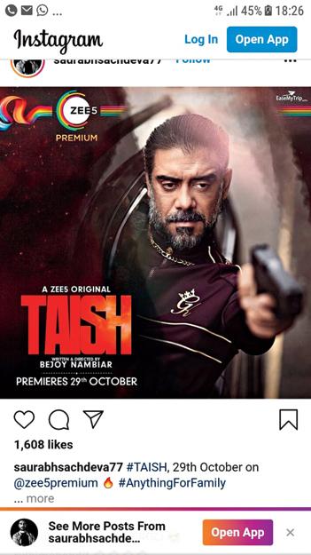 Sachdeva in publicity material for Taish