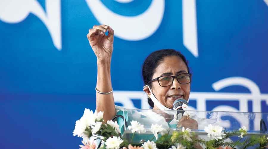 Mamata Banerjee speaks at Khatra in Bankura on Monday