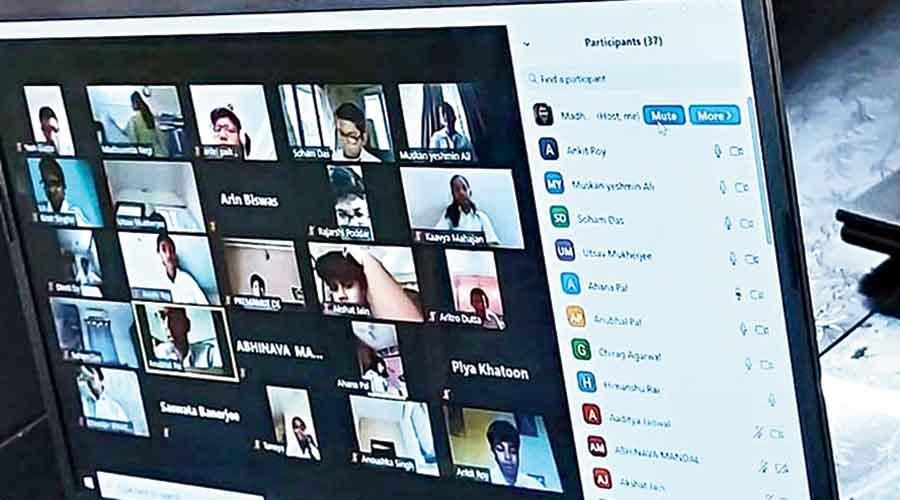 Students attend an online class