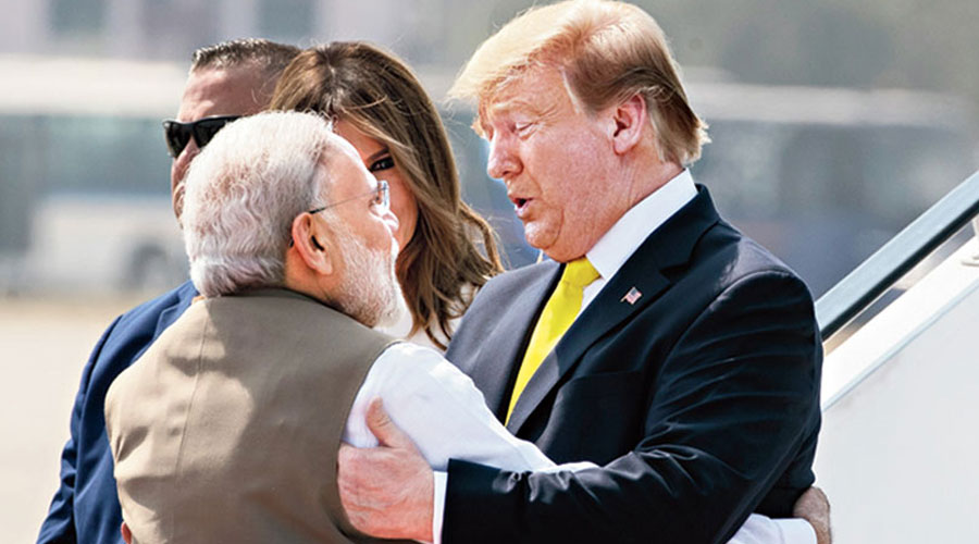 Modi hugs Trump in Ahmedabad.