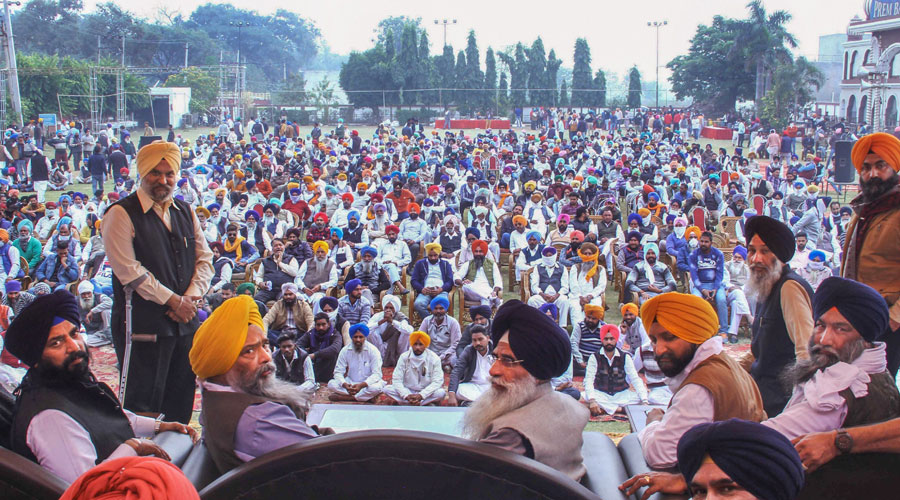 Shiromani Akali Dal (SAD) leader Prem Singh Chandumajra, Harinderpal Singh Chandumajra, and other leaders take part in Punjab Bachao Rally in support of farmers in Patiala on Monday, November 23, 2020.
