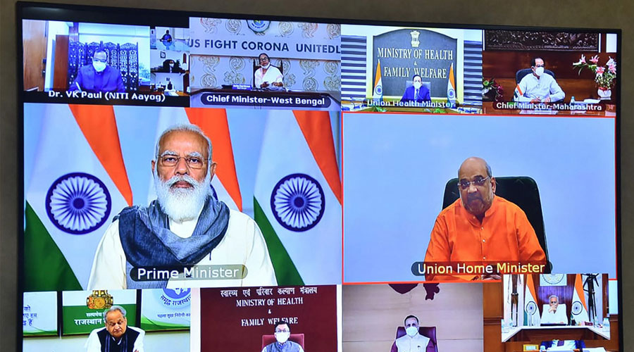 Prime Minister Narendra Modi holds a virtual meeting with Chief Ministers of eight states where Covid-19 cases have seen a sudden spurt after the festive season, in New Delhi.