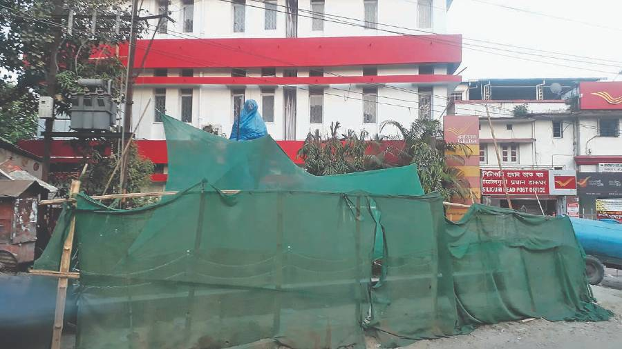 The site where the bus of Mahatma Gandhi will be unveiled at Kutcheri Road in Siliguri.