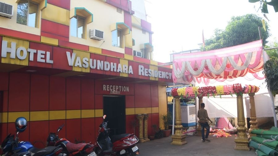 Hotel Vasundhara Residency in Hirapur, Dhanbad gears up for an upcoming wedding function on Wednesday.