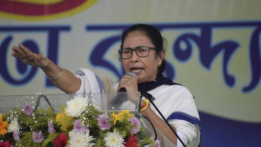 Bengal Chief Minister Mamata Banerjee speaks at a public rally in Bankura on Wednesday.