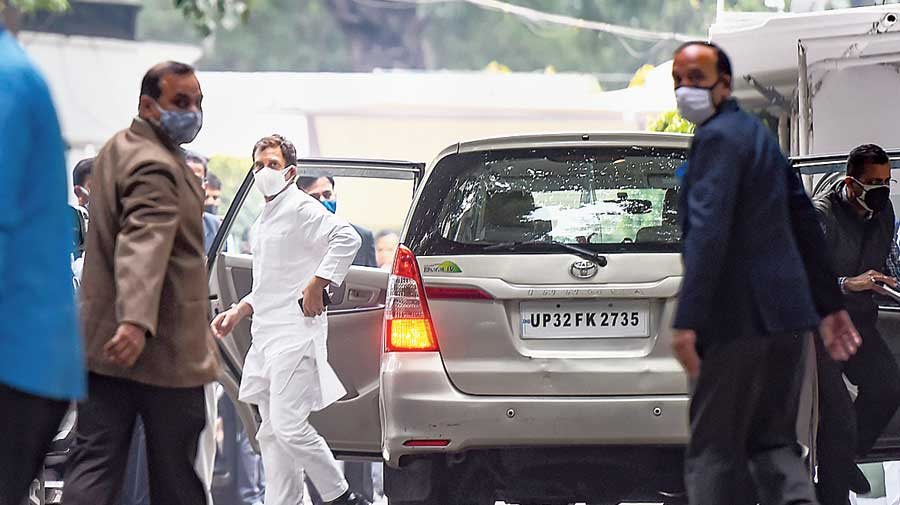 Rahul Gandhi arrives at Ahmed Patel's residence in New Delhi on Wednesday  to pay condolence to his family.