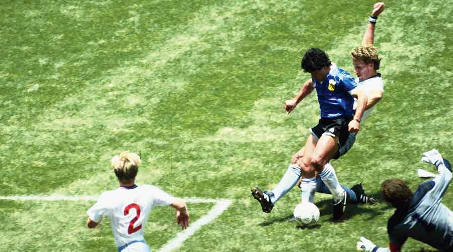 Maradona during the 1986 World Cup match against England on June 22