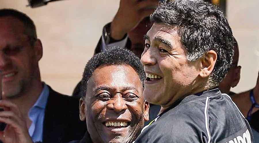 Legends: Diego Maradona with Pele