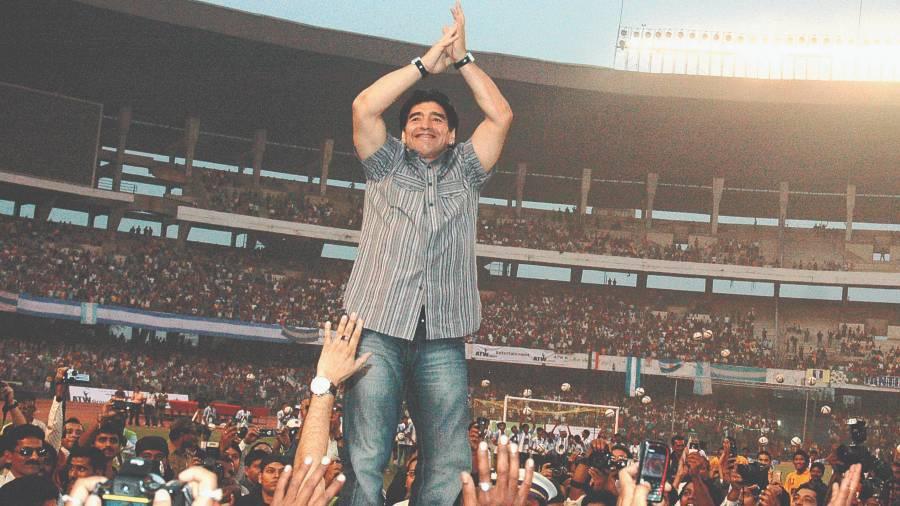 Maradona at Salt Lake stadium in 2008