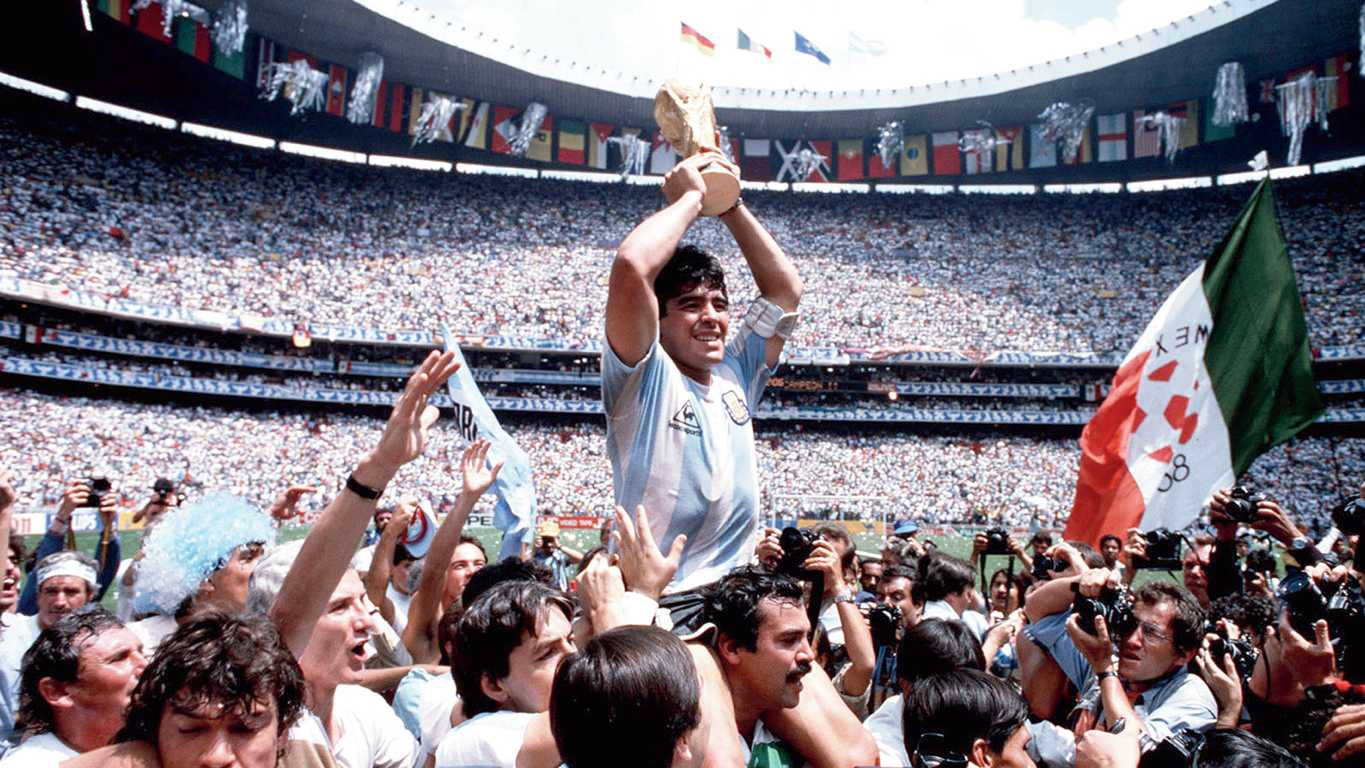 Maradona played for Napoli from 1984 to 1991 winning two Serie A titles and the Uefa Cup. In 1986, he captained the Argentine team to victory in the World Cup.