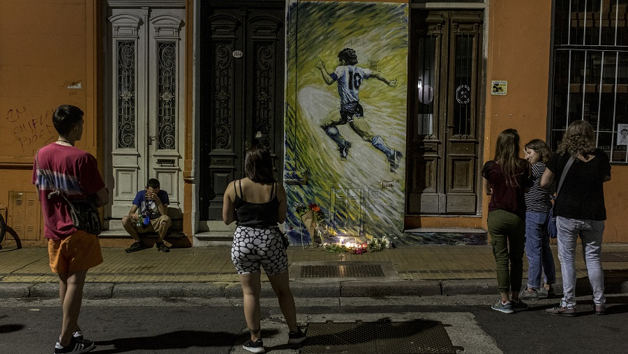 A makeshift memorial for Diego Maradona in the San Telmo neighborhood of Buenos Aires, Argentina, Nov. 25, 2020. For many Argentines, Diego Maradona, who died on Wednesday, was no mere soccer superstar.