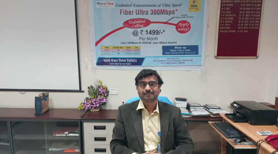 General manager of BSNL's Jamshedpur Secondary Switching Area Sanjeev Verma at his office in Golmuri on Friday.
