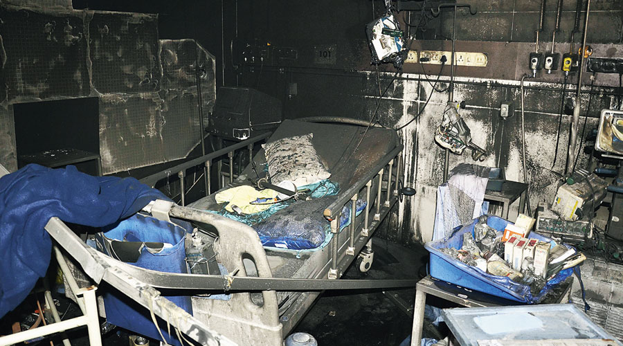 Charred remains inside the ICU of the Covid-19 hospital in Rajkot on Friday.