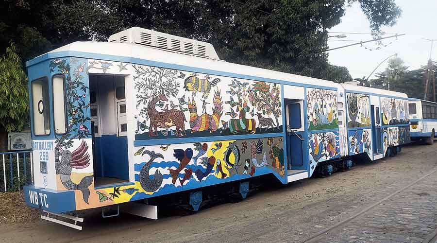 The tram that has been readied to function as an art gallery