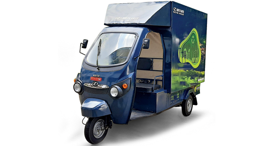 Kinetic Green's new high-speed, one-ton (500kg-payload) Safar Jumbo has been designed in-house to cater to last-mile delivery needs.