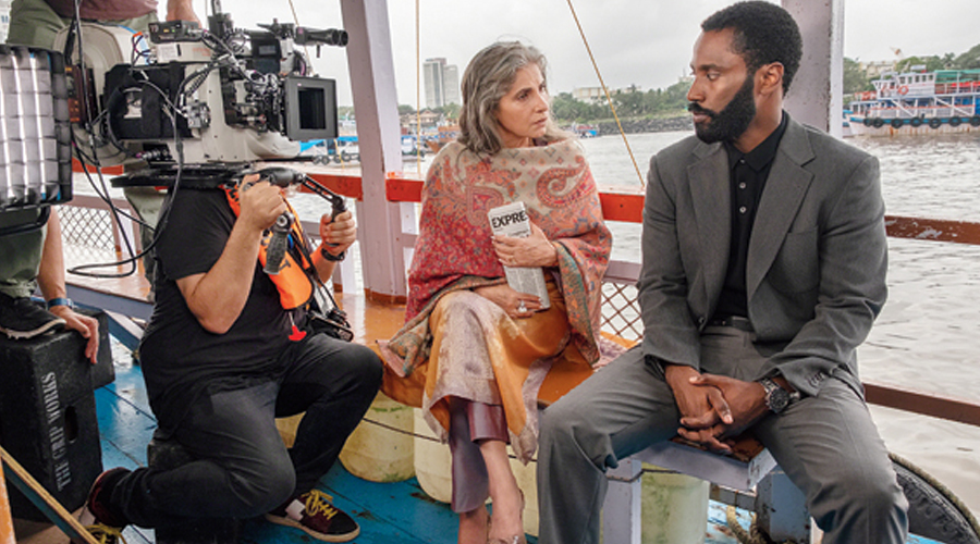 Dimple with John David Washington on the Mumbai sets of Tenet
