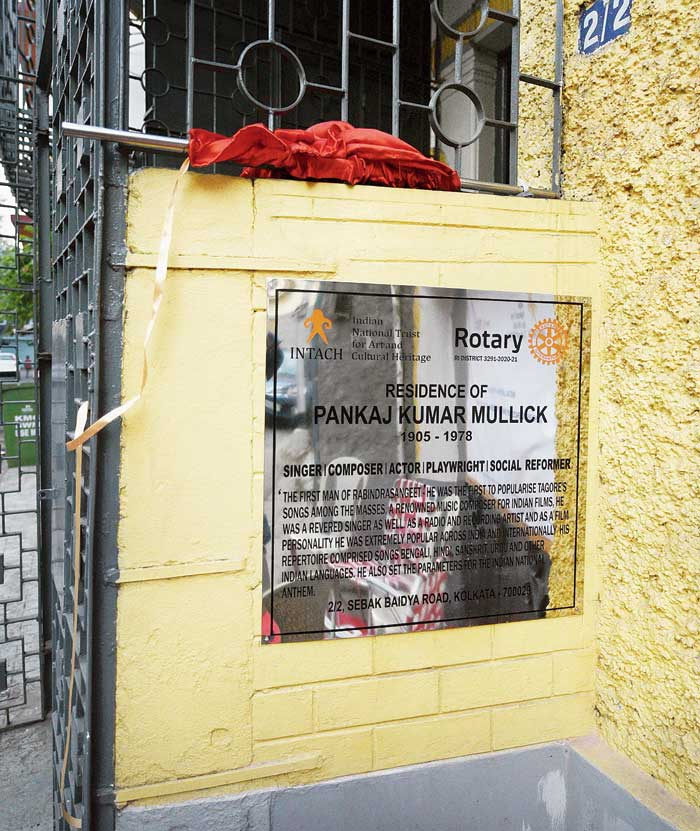 The plaque on singer-composer Pankaj Mallick's house at 2/2 Sebak Baidya Street, off Hazra Road.