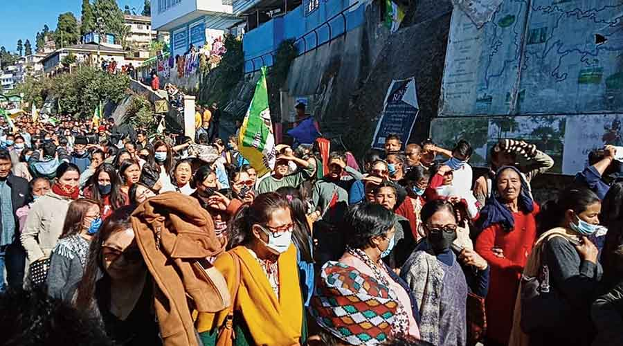 Supporters of the Gurung faction take out a rally ahead of the public meeting of Gorkha Janmukti Morcha (Gurung faction) in Kurseong on Sunday