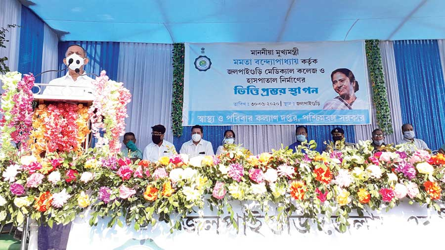 Deb speaks at the programme of the medical college and hospital in Jalpaiguri on Wednesday.