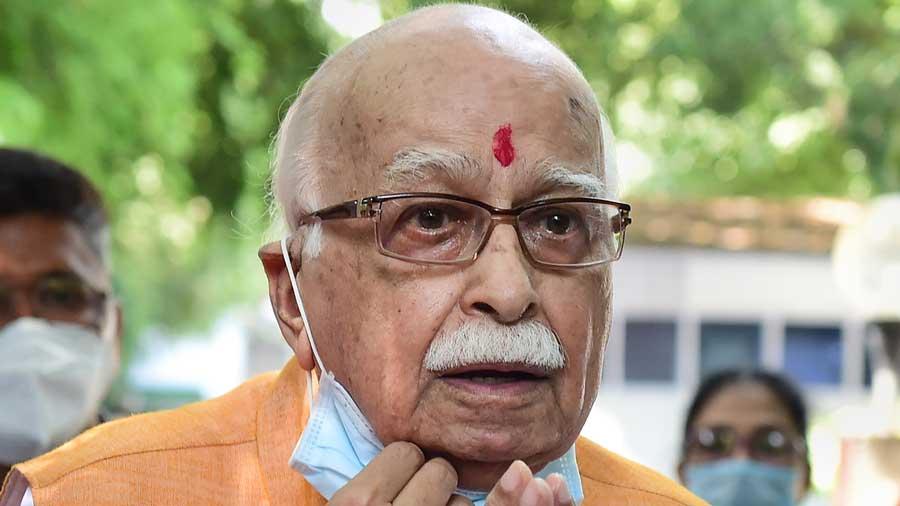 Senior BJP leader LK Advani addresses media after the verdict by the special CBI court in New Delhi on Wednesday