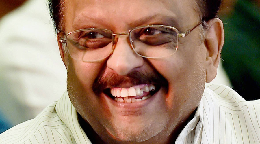 In this Wednesday, Jan. 27, 2016 file picture of playback singer SP Balasubrahmanyam at the audio launch of movie Kanithan in Chennai.