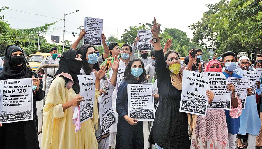 Protesters in front of Lady Brabourne College on Friday.