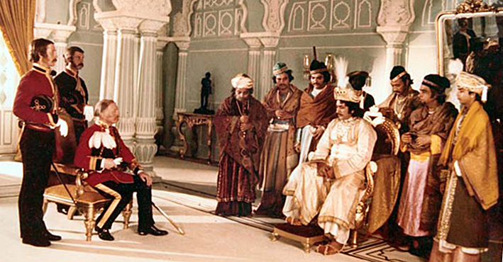 A scene from Satyajit Ray's film Shatranj Ke Khilari, wherein Nawab Wajid Ali Shah meets General James Outram, the British Resident of Lucknow. Outram handed over to the Nawab the document of abdication from the British governor-general