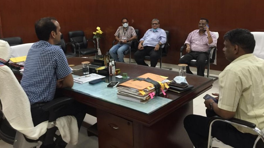 Deputy commissioner Aditya Kumar Anand in a meeting with NTPC officials in Hazaribagh on Saturday.