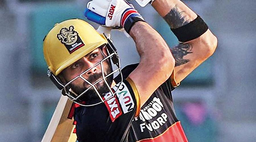 RCB skipper Virat Kohli during his 53-ball 72 not out against Rajasthan Royals in Abu Dhabi on Saturday.