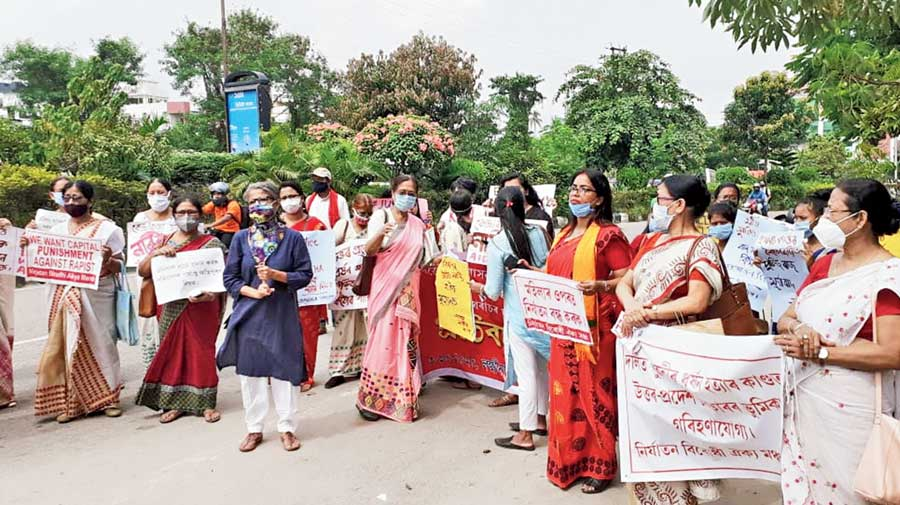 The protest by women organisations in Guwahati on Saturday against the Hathras atrocity.