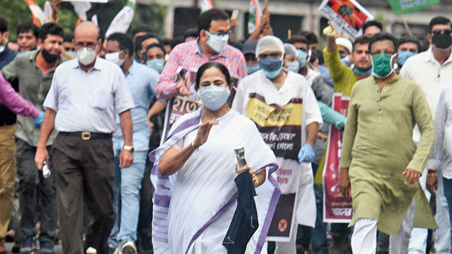 Mamata Banerjee leads the march in Calcutta on Saturday  to protest the atrocity on the Dalit girl in Hathras in  Uttar Pradesh.