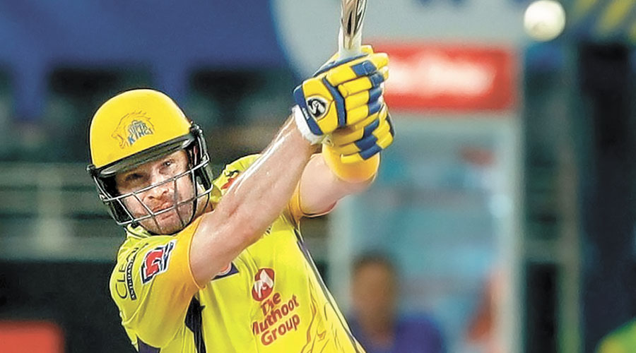 Man of the Match Shane Watson on way to his unbeaten 83 during Chennai Super Kings' match against Kings XI Punjab in Sharjah on Sunday.