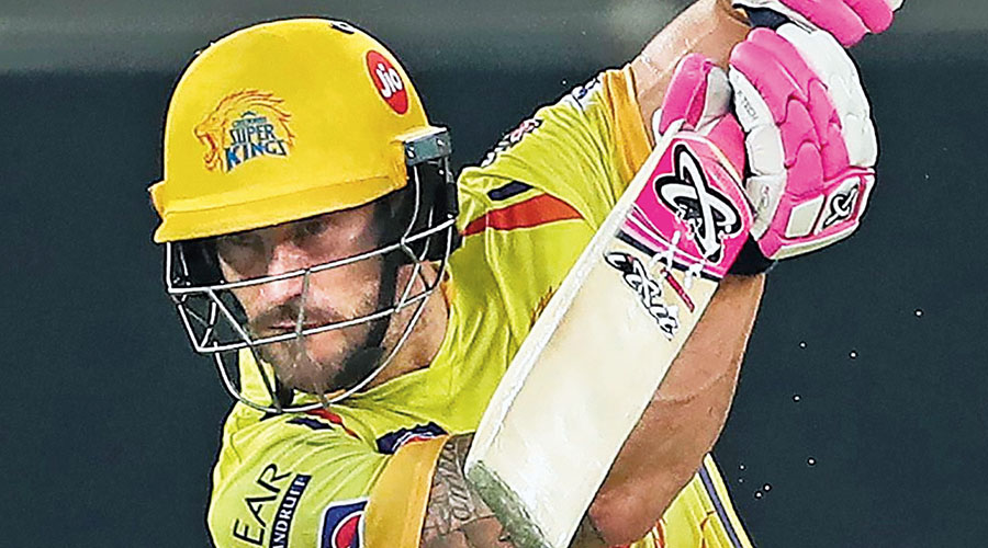 Faf du Plessis en route to his unbeaten 87 during Chennai Super Kings' match against Kings XI Punjab in Sharjah on Sunday.