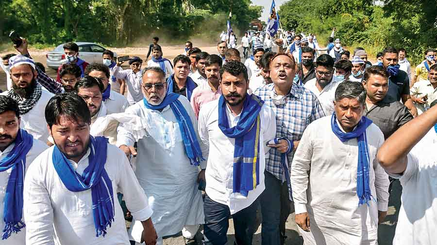 Bhim Army president Chandrashekhar Azad and party workers on their way to meet the family members of the Dalit girl who was murdered in Hathras
