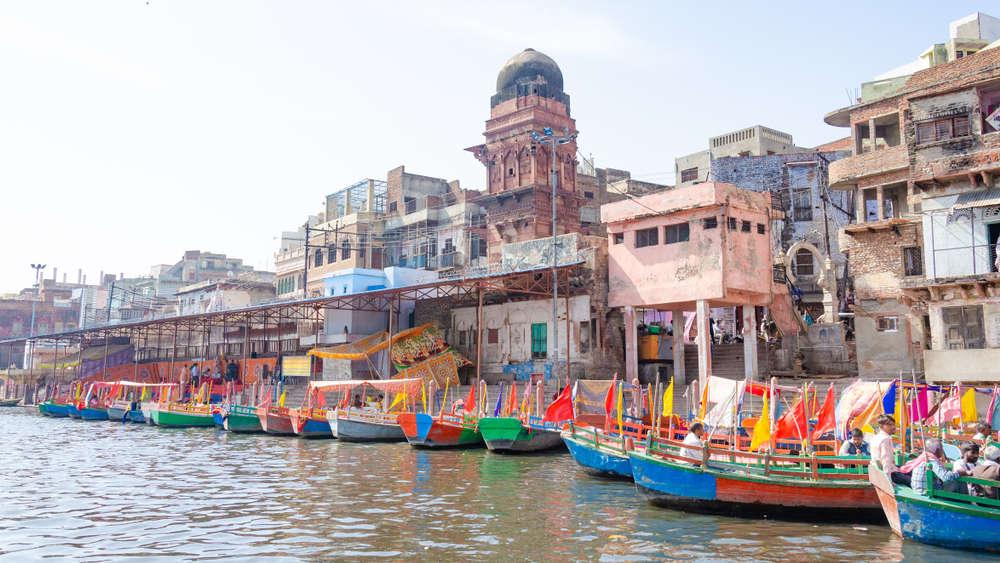 Colorful boats on the bank of Yamuna, Mathura.