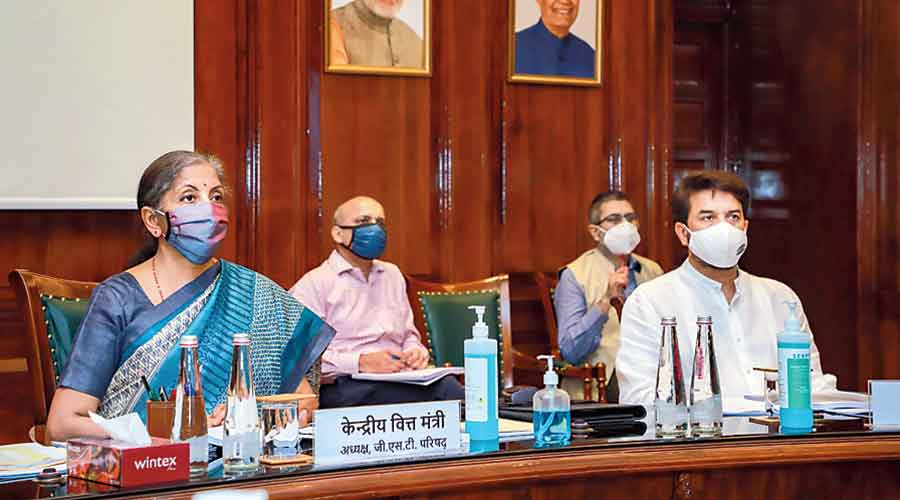 Nirmala Sitharaman at the GST Council meeting in New Delhi on Monday.