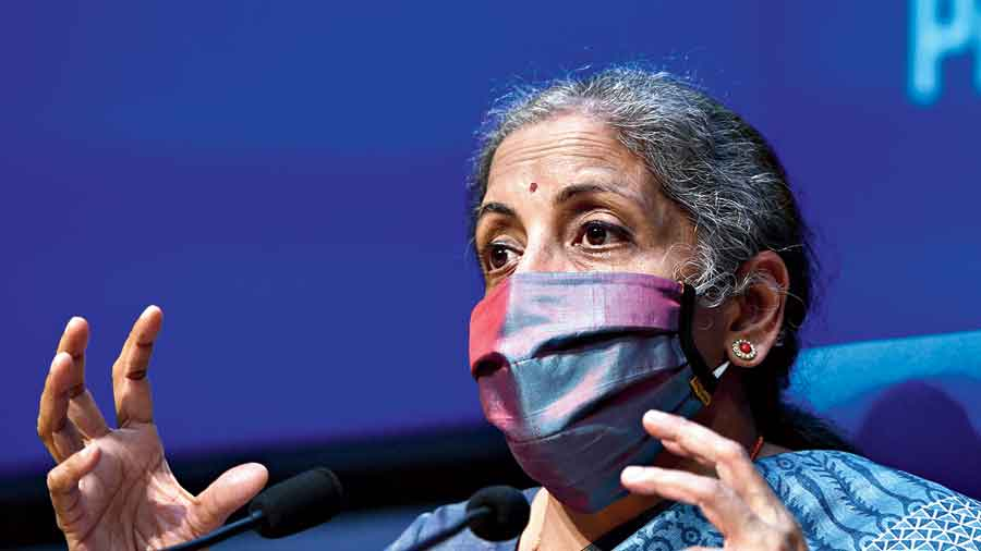 Nirmala Sitharaman at the news conference in  New Delhi on Monday