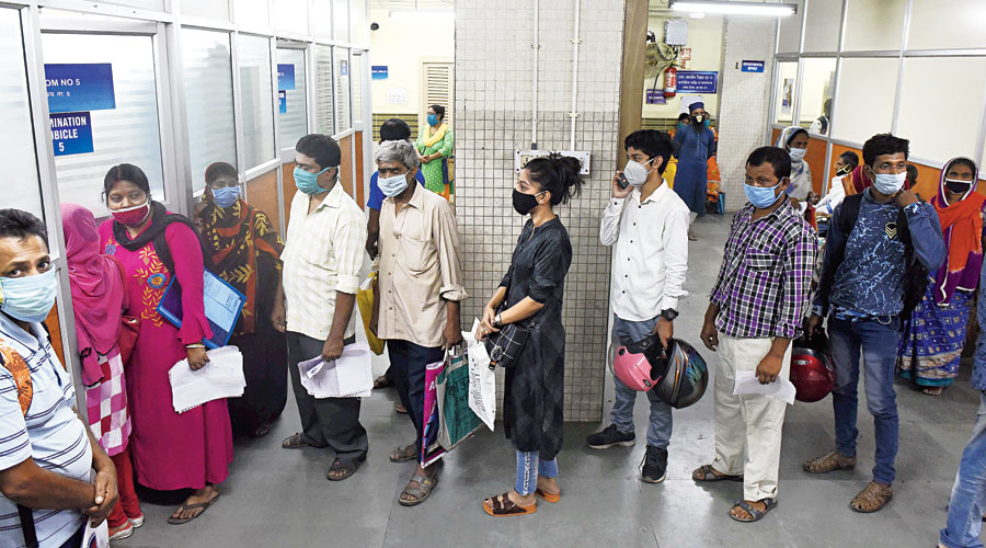 The queue inside the OPD at SSKM Hospital on Tuesday morning.
