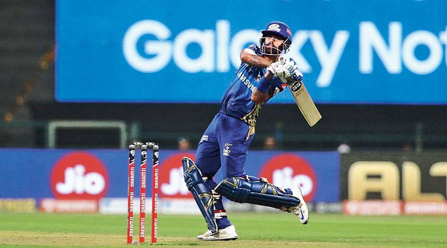 Man of the Match Suryakumar Yadav during his 79 not out against Rajasthan Royals on Tuesday.