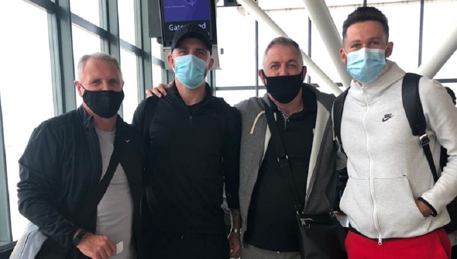 Sandy Stewart (from left), Peter Hartley, Owen Coyle and Nerijus Valskis at Heathrow airport enroute to Goa on Wednesday.