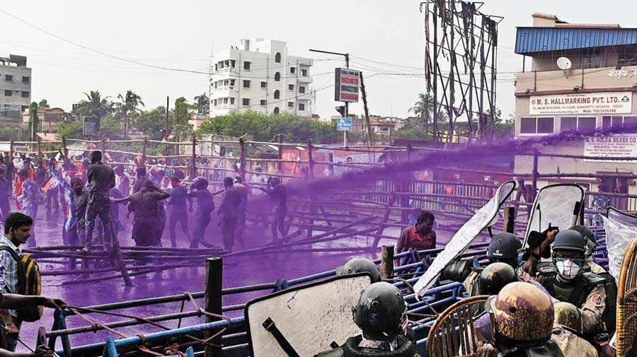 "Police used a dye mixed with water to disperse the unruly supporters of the BJP at Howrah Maidan. The purple water gushing out of the cannons caught the BJP foot soldiers by surprise.  The BJP accused the police of mixing chemicals with water for crowd management. The police said there was no chemical but just a plain dye added to the water.  Chief secretary Alapan Bandyopadhyay clarified that the colour was the one used during Holi celebrations. ""The intent globally to use coloured waters is to identify a person post-dispersal for further necessary action, as per law if deemed fit."""