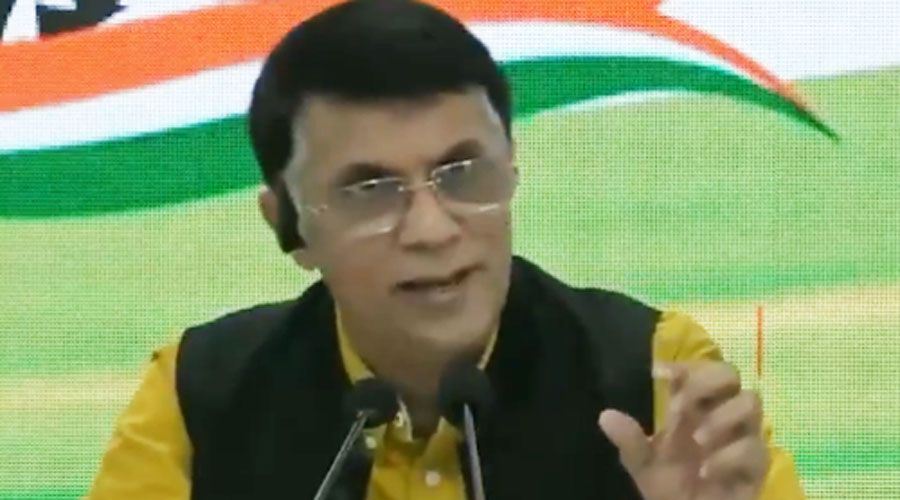 Congress spokesperson Pawan Khera addresses a news conference on Thursday.