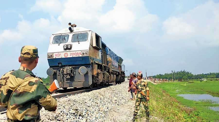 The railway engine at the no-man's land on India–Bangladesh border during the trial run along Haldibari-Chilahati route on Thursday.