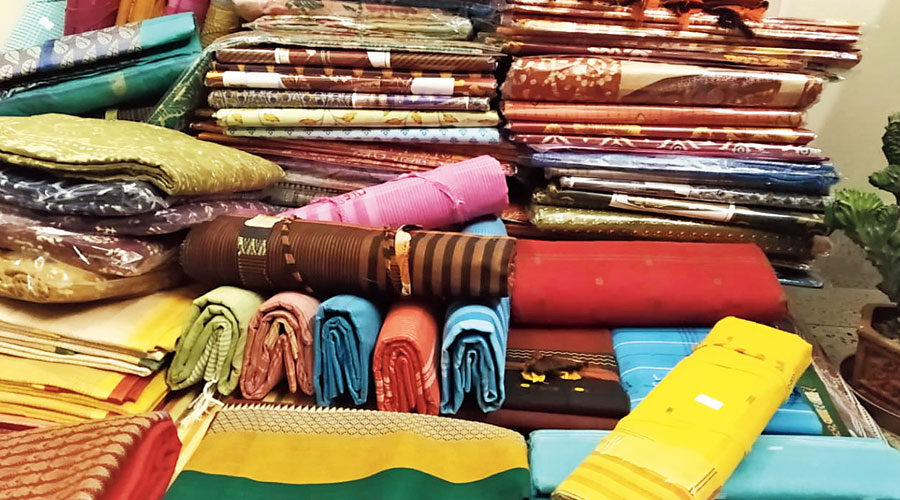 Some of the saris collected by the campaign